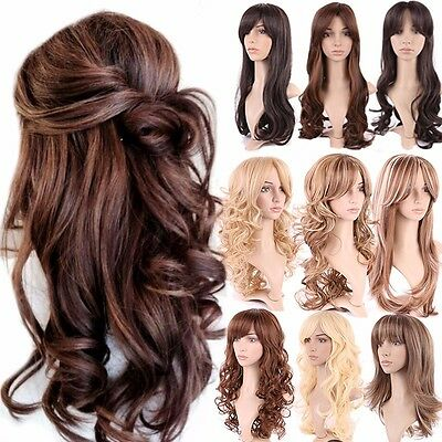 Fashion Women Long Hair Full Wig Natural Curly Wavy Straight Synthetic Wigs #18