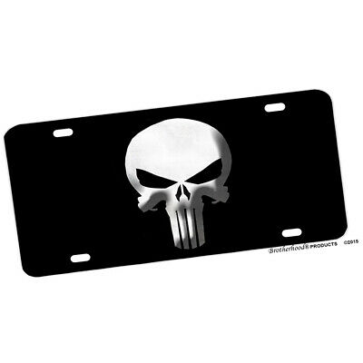 The Punisher Black and White Aluminum License plate