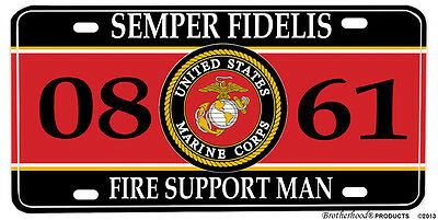 US Marine Corps MOS 0861 Fire Support Man Aluminum License Plate