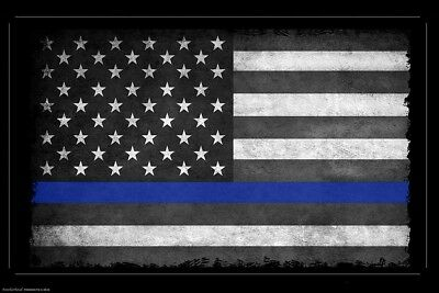 Thin Blue Line American Flag 24x36 Inch Poster