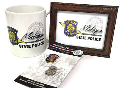Michigan State Police Framed Print, Coffee Mug, Lapel Pins Gift Set