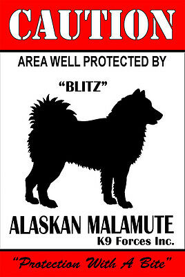 Protected By Alaskan Malamute K9 Forces 8x12 Metal Sign-Personalize