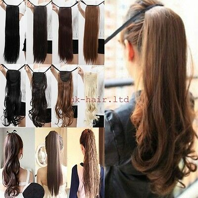 UK Drawstring Ponytail Piece Clip in on Pony Tail Hair Extensions Human Made ltd