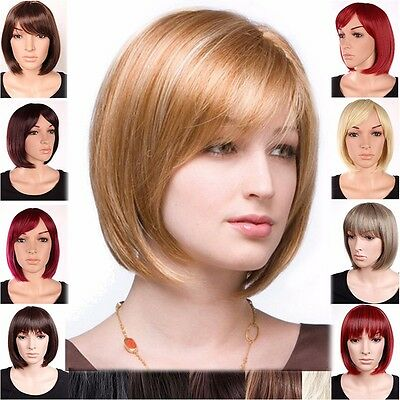 Women Ladies Real Natural Short Straight Hair Wigs BOB Style Cosplay Full Wig #