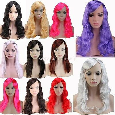 New Sexy Womens Long Full Wig Curly Straight Hair Party Cosplay Fancy Dress #H45