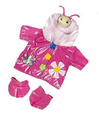 """8"""" Pink Butterfly Lovely Raincoat Coat With Boots Fits 8""""-10"""" (25Cm) Teddy Bears"""