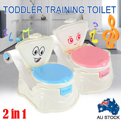 Kids Children Baby Toddler Toilet Training Potty Trainer Seat Chair with Music