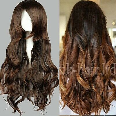FULL LONG WOMENS LADIES FASHION HAIR WIG CURLY BLACK DARK BROWN Real AS REMY ltd