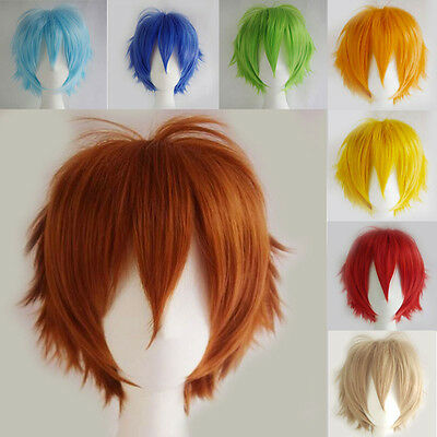 UK Stock Women Anime Short Wig Cosplay Party Costume Heat Resistant Dress YF4