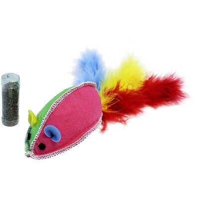 Happypet Cat & Caboodle Giant Catnip Mouse With Long Feather Tail & Catnip Tube