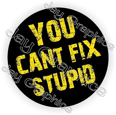 You Cant Fix Stupid Hard Hat Sticker | Decal Funny Label Helmet Badge Welding