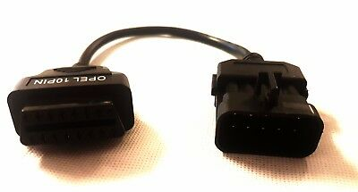 Adapter 10 PIN für Opel auf OBD2 16 Pin Stecker Diagnose Adapter Kabel