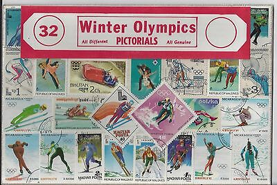 Packet of 32 Winter Olympics Stamps All Different