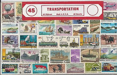 Large Packet of 45 Tranportation Stamps All Different