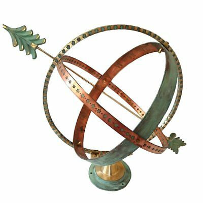 Solid Brass And Copper Verdigris sfaíra Armillary Globe Sundial