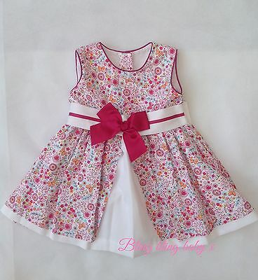 Baby Girls Spanish Navy Bow Dress - 12 Months 1 Year White Pink - Fully Lined