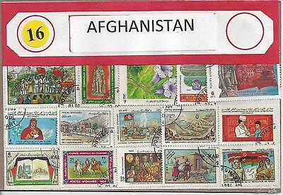 Packet of 16 Afghanistan Stamps All Different