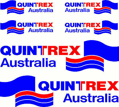 Quintrex, 2 Colour, Fishing, Boat, Mirrored Sticker Decal Set of 6