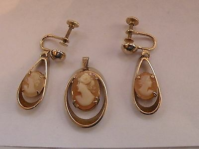 RDR-10 CARVED SHELL CAMEO SCREW EARRINGS AND PENDANT SET - no chain
