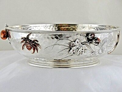 A Whiting Japanese Prototype Hammered Sterling Silver - Mixed Metals Bowl