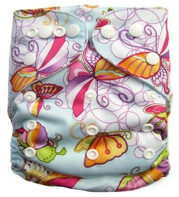Modern Cloth Nappy -Double Row Snap  with Double Gussettes - Girls 4 Pack - OSFM