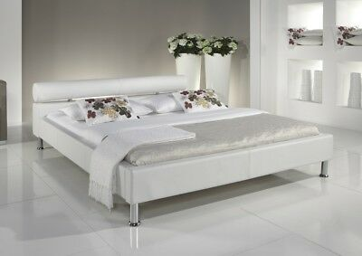 Designer leather bed white with gold wonderful upholstered solid wood