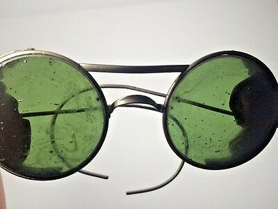 Antique Welding Green Glass Goggles Glasses Leather Sides