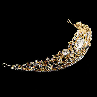 Bridal Wedding Gold Plated Crystal Crown Tiara Headband Pageant Jewelry