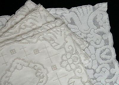 Mosaic Lace Linen Placemats & Runner Set - 9 Pc Ecru - Vintage European Gorgeous