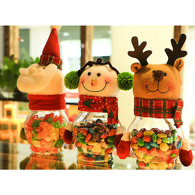 Snowman Christmas Santa Candy Filler Storage Bottle Xmas Party Decor Box Gift UK