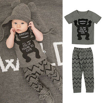 2Pcs Baby Boy Girl Clothes Newborn T-shirt Tops+Pants Trousers Outfit Set 0-24M