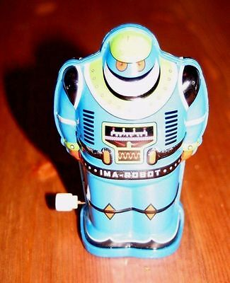 Schylling Tin Toy Wind Up Robot Ima Robot Blue 2010 Works Classic