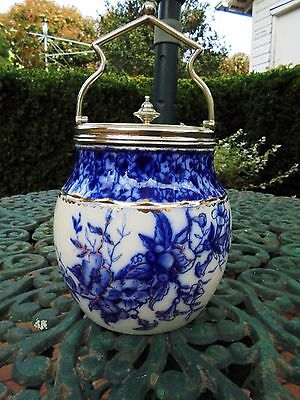 ANTIQUE CARLTON WARE BISCUIT BARREL CATALPA BLUE AND WHITE c1885
