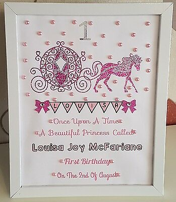 Personalised Framed Carriage Baby First 1st Birthday Girl Handmade Gift Keepsake