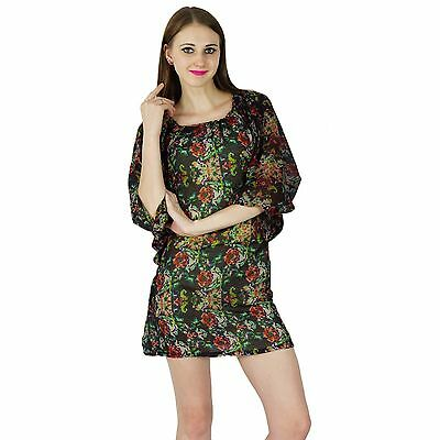 Robe Summer Femme Bain Kurti Top De Tunique Plage Coton Courte NnwX8OPk0