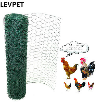 Green PVC Coated Chicken Rabbit Wire Mesh Fence Fencing 25mm  Hole Size Garden