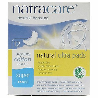 Natracare Natural Ultra Pads Super With Wings 12s (Pack of 2)
