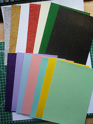 50 x A6 sheets quality Glitter card  220 gsm 20 lovely colours