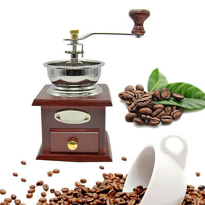 UK Mill Mini Antique Wooden Manual Coffee Bean Hand Grinder Kitchen Accessories
