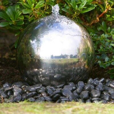 40cm Solar Powered Stainless Steel Sphere Water Feature-CLEARANCE