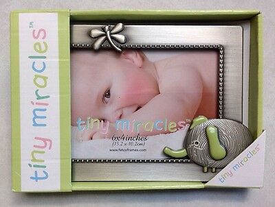 "Moxie Elephant by Tiny Miracles 6"" X 4"" Silver Baby Photo Picture Frame Gift"