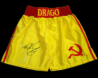 Dolph Lundgren ' Rocky 4' Signed Yellow Replica Boxing Trunks: I Must Break You