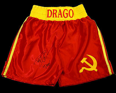 Dolph Lundgren ' Rocky 4' Signed Red Replica Boxing Trunks: Drago
