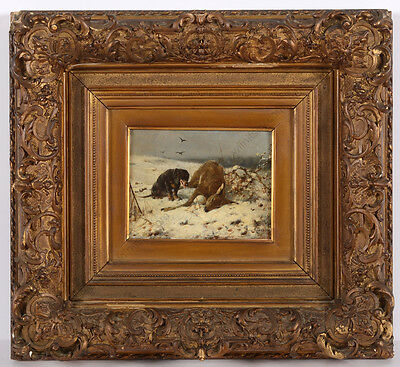 "Otto Friedrich Gebler ""Successful hunt"", small oil on panel, late 19th century"