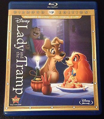 Disney LADY and the TRAMP Blu-Ray & DVD Diamond Edition 3-Disc Set 2012 OOP Rare