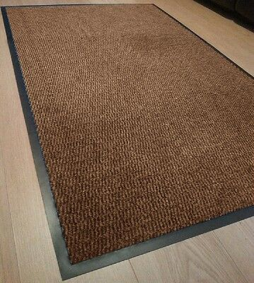 BROWN Heavy Duty Non Slip Rubber Barrier Mats Rugs Back Door Hall Kitchen Floor