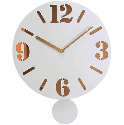Hometime The Milky Clock White Vintage Style Rose Wall Clock With Pendulum W7319