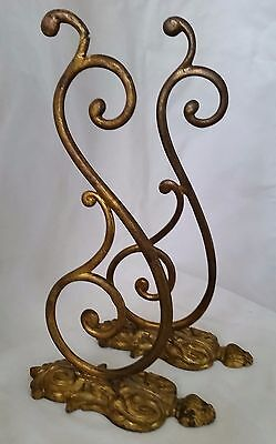 Pair of Large Gilded Bronze Antique VTG Wall Hooks 9 3/4 in