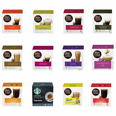 128 Dolce Gusto Coffee Pods & FREE Latte Glass 8 x 16 pod Cheapest Mix n Match