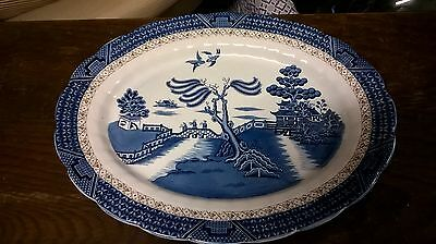 """17"""" Booths A8025 Real Old Willow Blue Oval Serving Plate"""